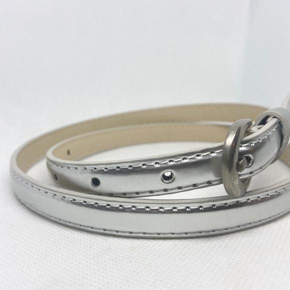 RESTOCKED- Thin Trendy Silver Vegan Leather Belt